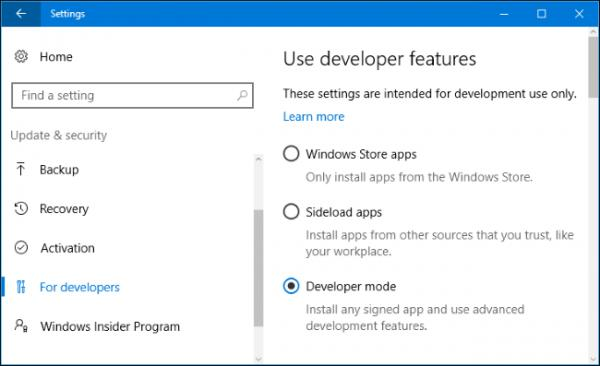 Enable Developer Mode Windows 10